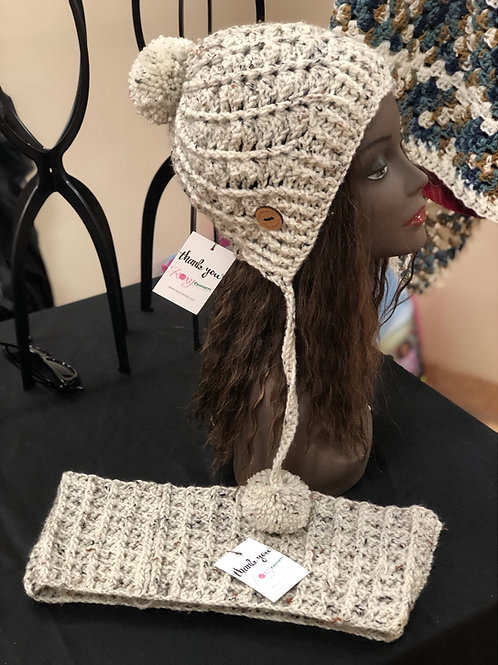 Oatmeal Speck Hat and Scarf