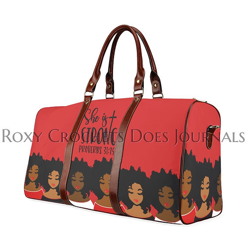 She is Strong: Red and White Travel Bag (Pre Order)