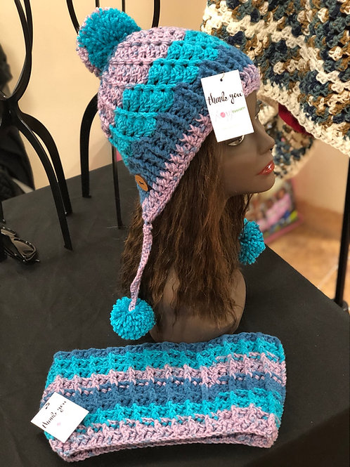 Blue Periwinkle Ombré Mix Hat and Scarf