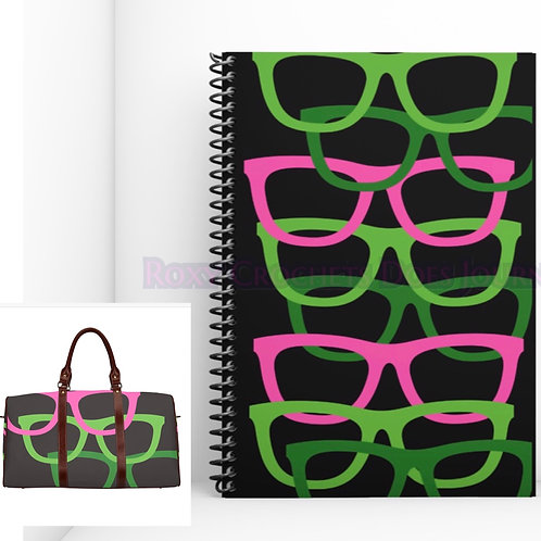 Pink and Green Glasses Matching Journal and Travel Bag (Pre Order)