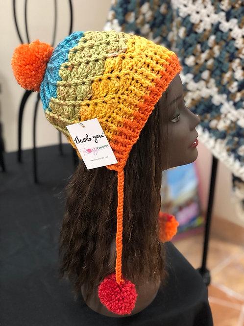 Rainbow Pom Pom hat
