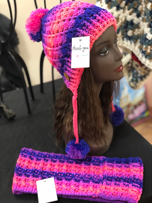 Blue Multi Mix Ombré Hat and Scarf