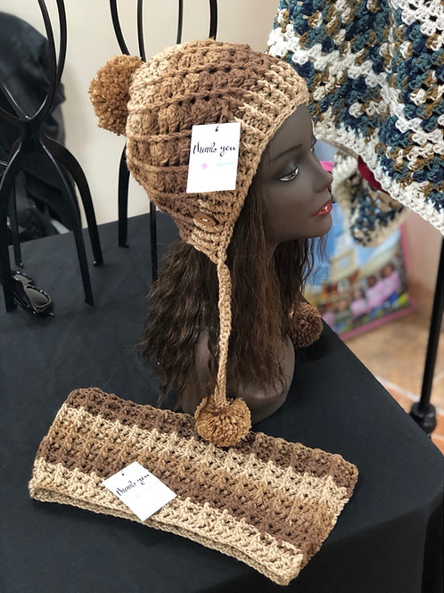 Light Brown Ombré Hat and Scarf