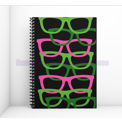 Pink and Green Glasses Journal