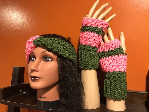 Pink and Spruce Green Set
