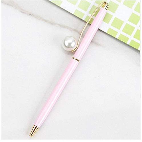 Pink Pearl embellished Black ink Pen