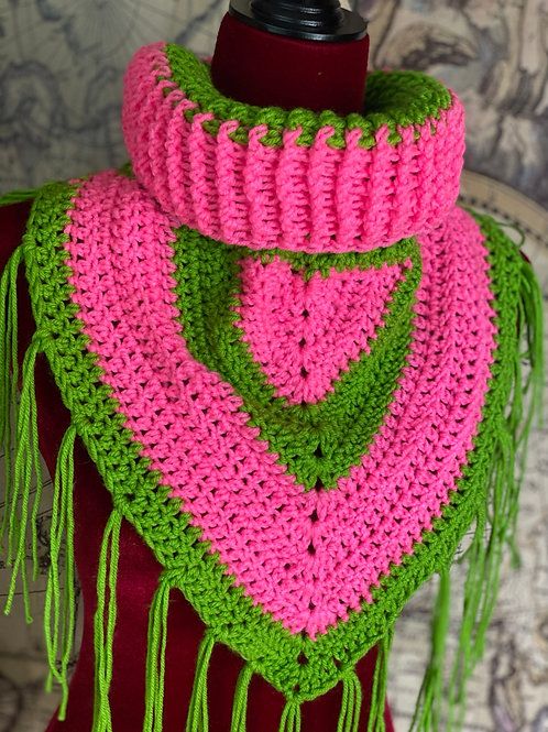 Rib Neck Bib Scarf (Pink and Green with Green tassles)
