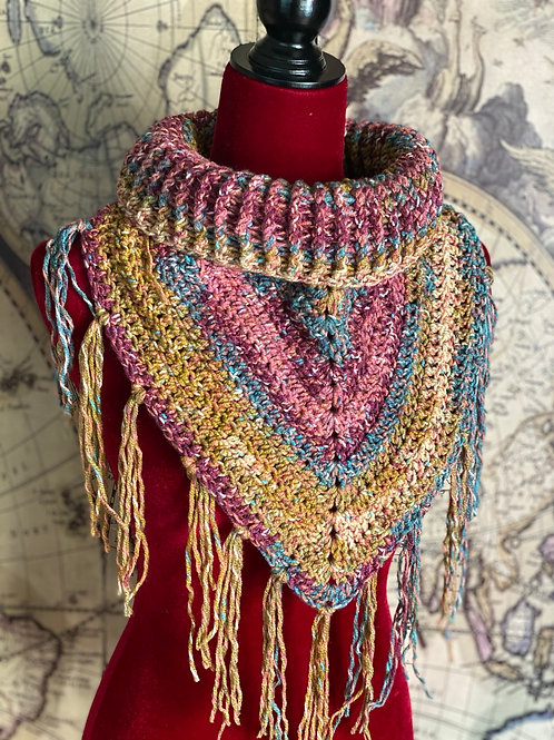 Rib Neck Bib Scarf (Vineyard Colors with Tassles)