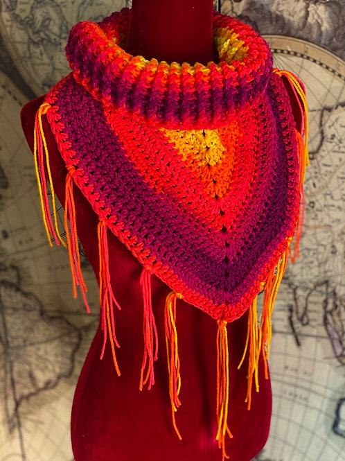Rib Neck Bib Scarf (Sunrise colors with Tassles)