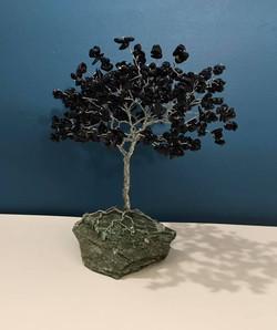 Blue Goldstone Tree of Life on a Fuchsit