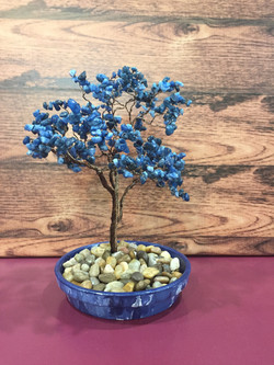 Blue Quartz Stones & bronze wire
