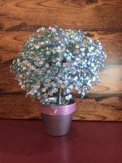 Blue Sparkle Tree with Rose Quartz Stone
