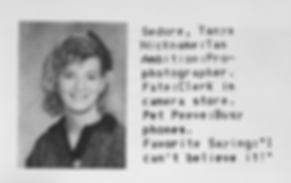 "Junior high school yearbook photo of Tanya Sedore, complete with her ambition written as ""pro photographer"""