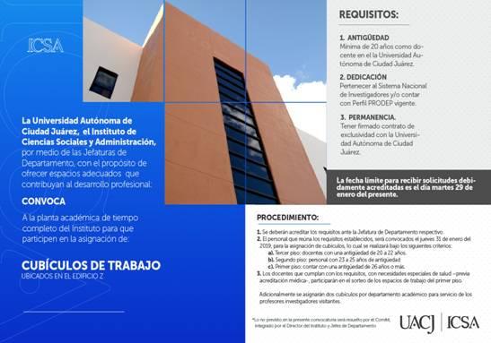 Publican convocatoria de asignación de nuevos cubículos para docentes en el ICSA