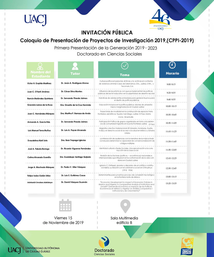 Realizan Coloquio de Presentación de Proyectos de Investigación 2019