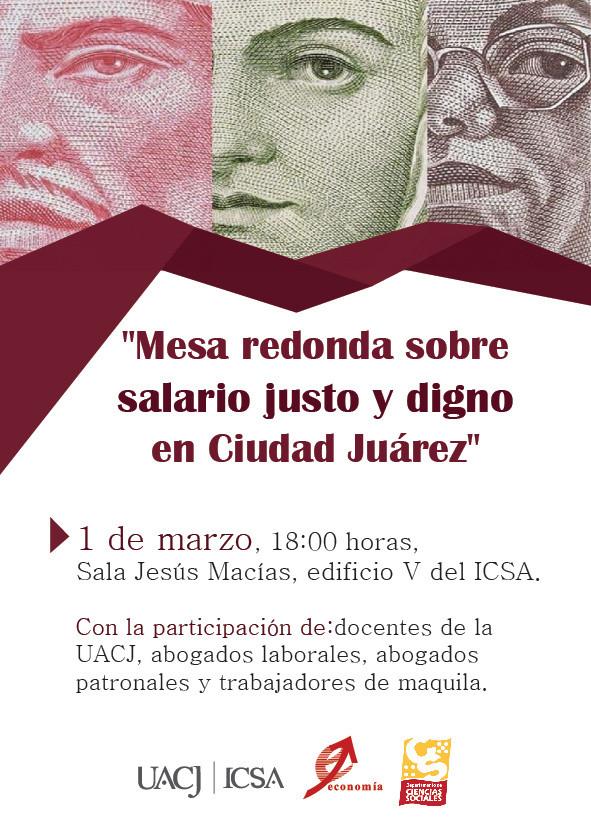 """Organizan """"Mesa redonda sobre salario justoy digno en Ciudad Juárez"""""""