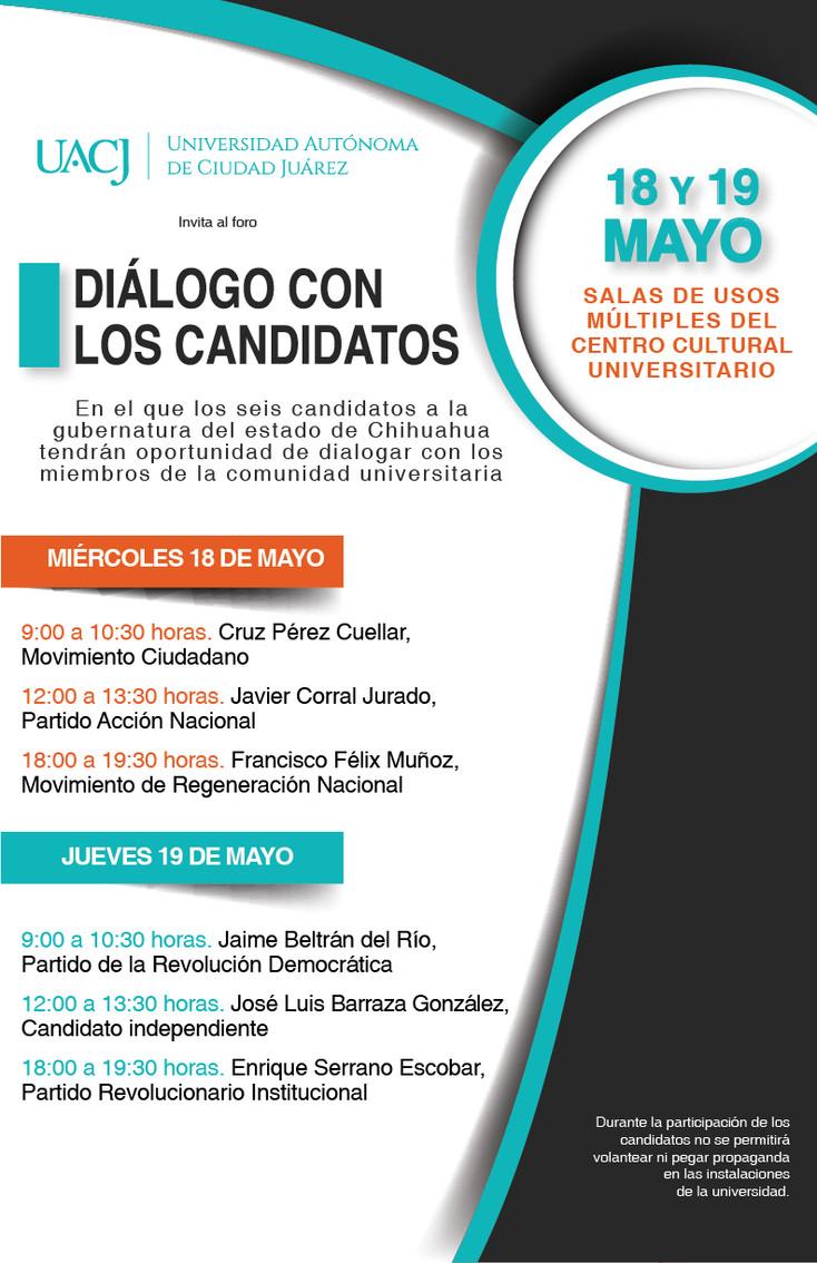 Se presentarán los candidatos a gobernador de Chihuhua hoy y mañana en la UACJ