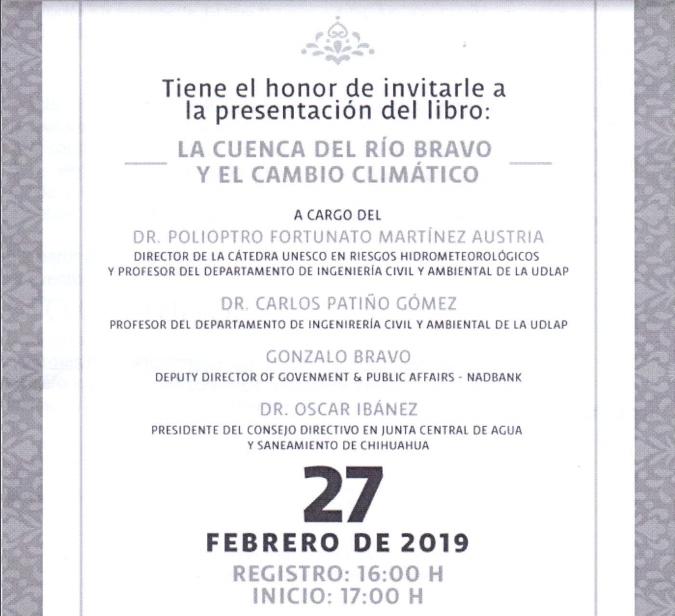 """Invitan a la presentación de libro """"La cuenca del Río Bravo. El cambio climático"""""""