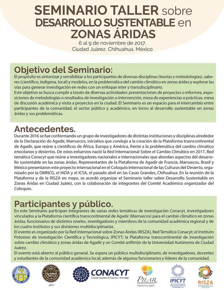 Seminario taller sobre Desarrollo Sustentable en Zonas Áridas