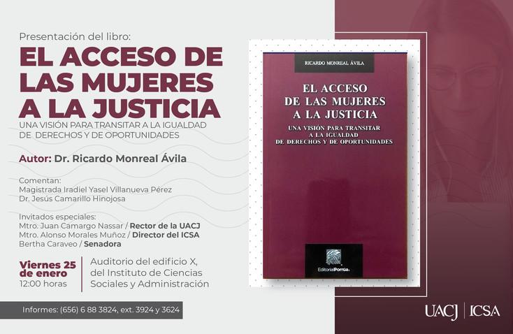 Invitan a presentación de libro sobre el acceso de las mujeres a la justicia