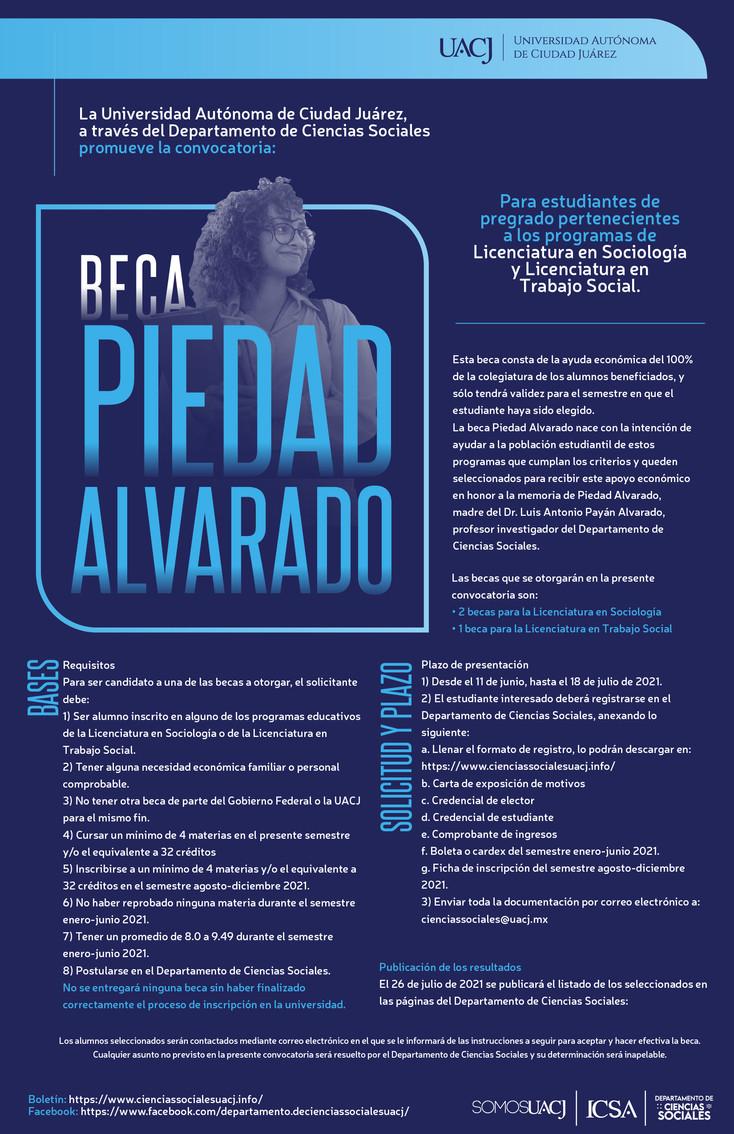 Abierta la convocatoria Beca Piedad Alvarado para alumnos de Sociología y Trabajo Social de la UACJ
