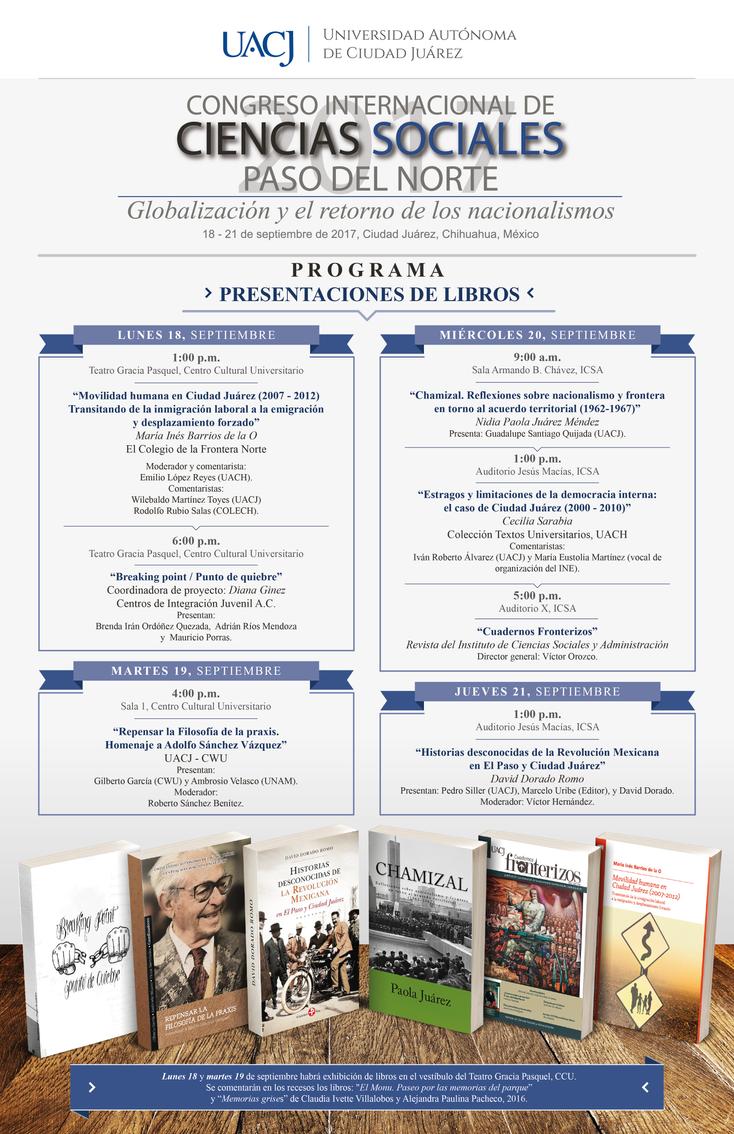 """Presentaciones de libros en el marco del Congreso Internacional de Ciencias Sociales """"Paso del"""
