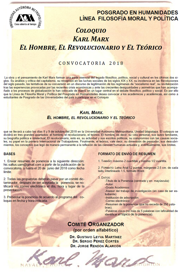 """Invitan a Coloquio """"Karl Marx. El hombre, el revolucionario y el teórico"""""""