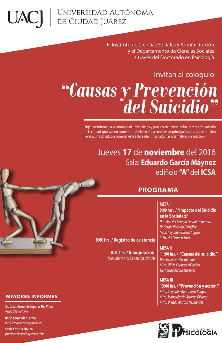 El Doctorado en Psicología llevará a cabo Coloquio sobre Suicidio
