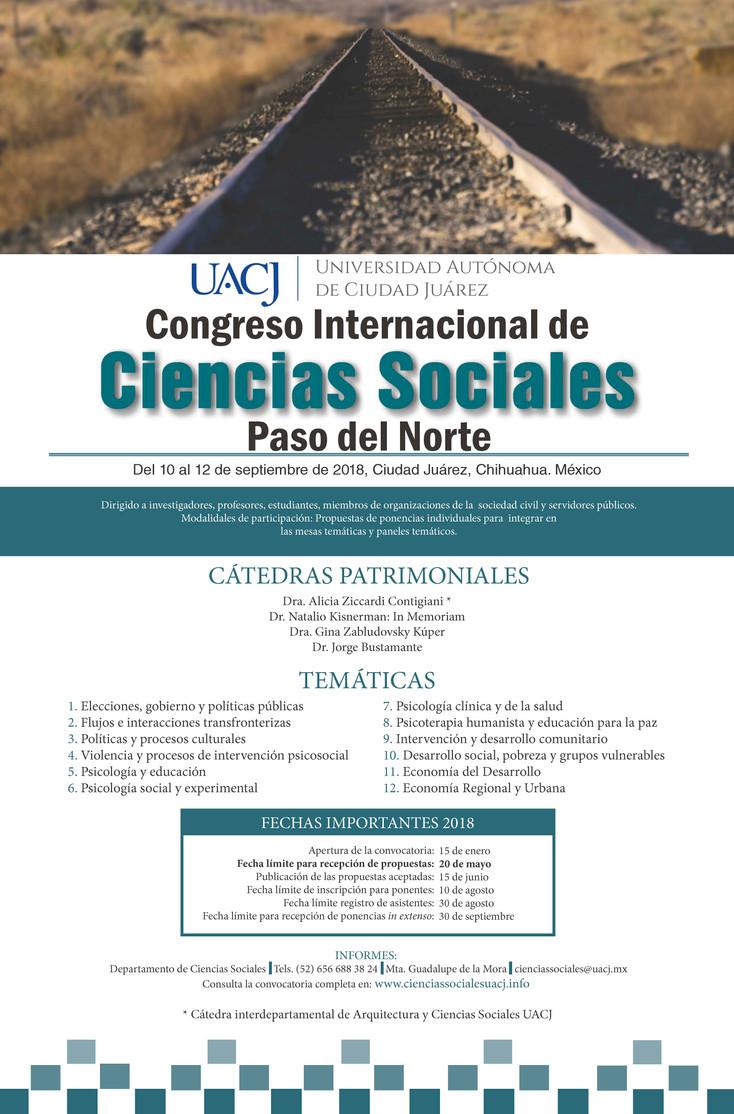 """Abierta la convocatoria 2018  del Congreso Internacional de Ciencias Sociales """"Paso del Norte&q"""