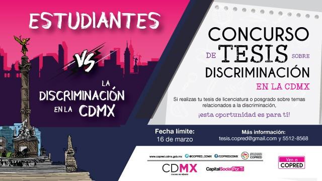 Sexta convocatoria al Concurso para realizar tesis relacionadas con el fenómeno discriminatorio