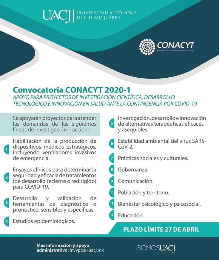 Lanza Conacyt convocatoria para proyectos de investigación ante la contingencia por COVID-19