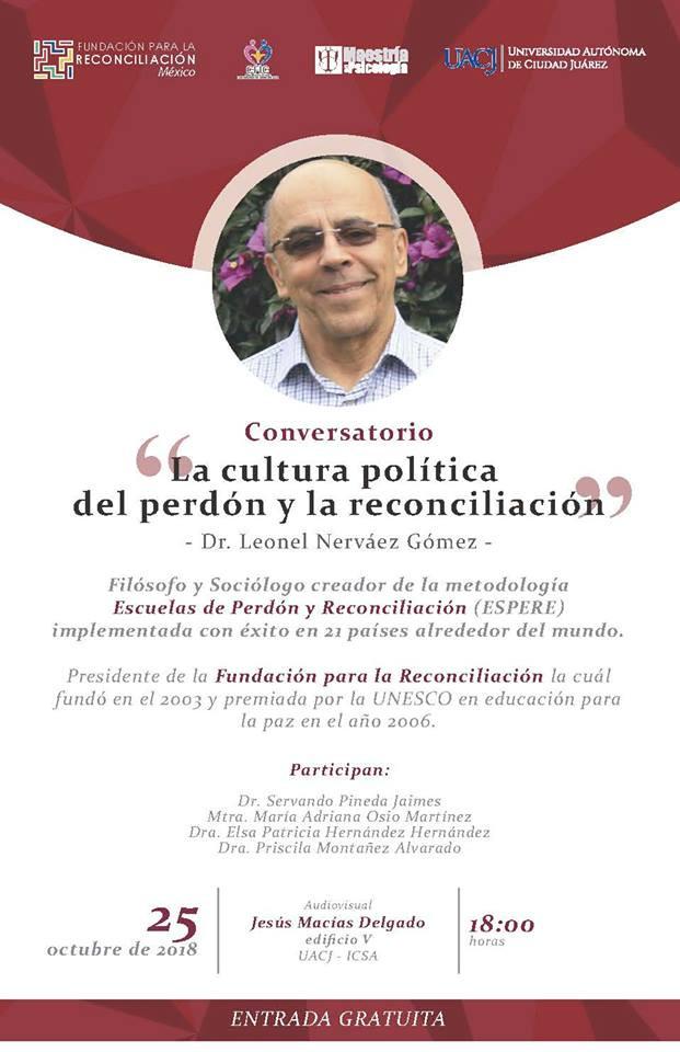 """Invitan a Conversatorio: """"La Cultura Política del perdón y la reconciliación"""""""