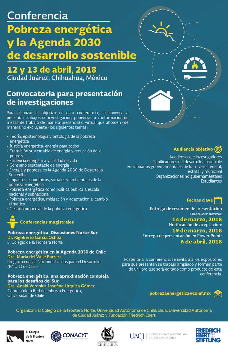 Convocatoria para la Conferencia: Pobreza Energética y la Agenda 2030 de Desarrollo Sostenible