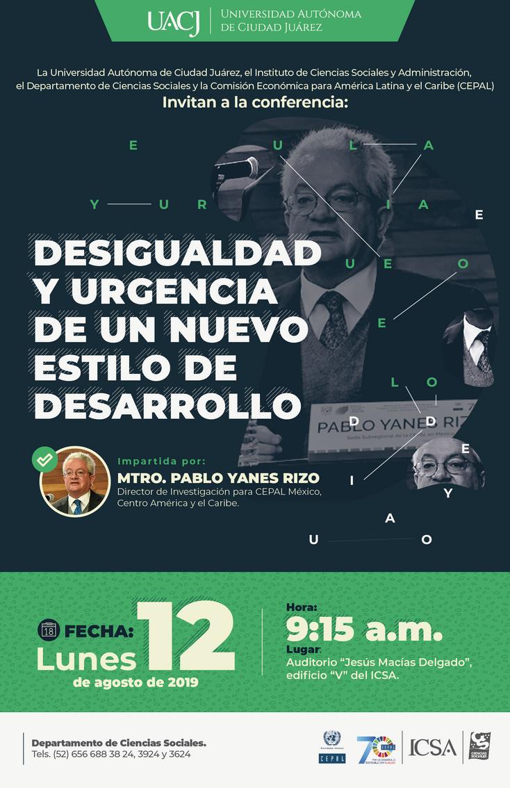 """Imparten conferencia: """"Desigualdad y urgencia de un nuevo estilo de desarrollo"""""""