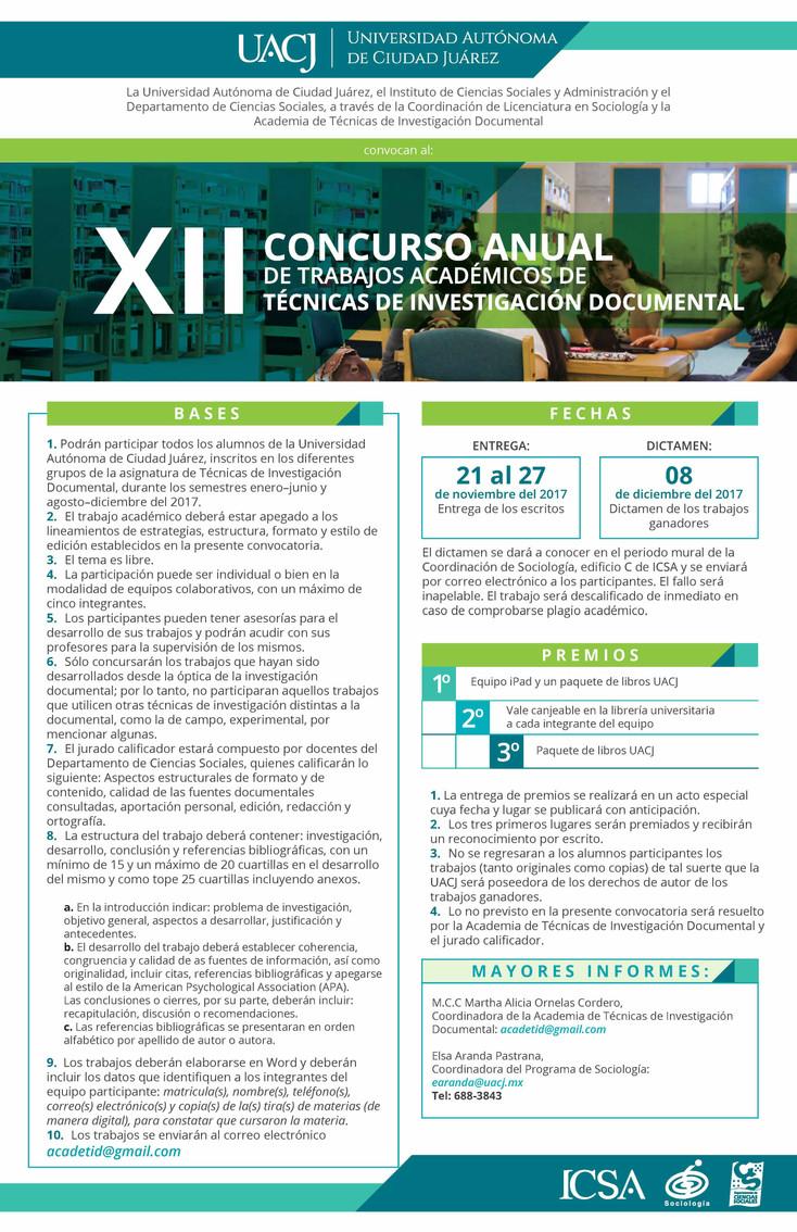 XII Concurso anual e trabajos académicos de técnicas de investigación documental