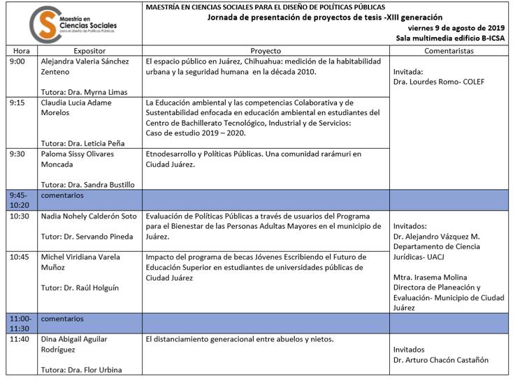 Realizan Jornada de presentación de proyectos de tesis en Ciencias Sociales