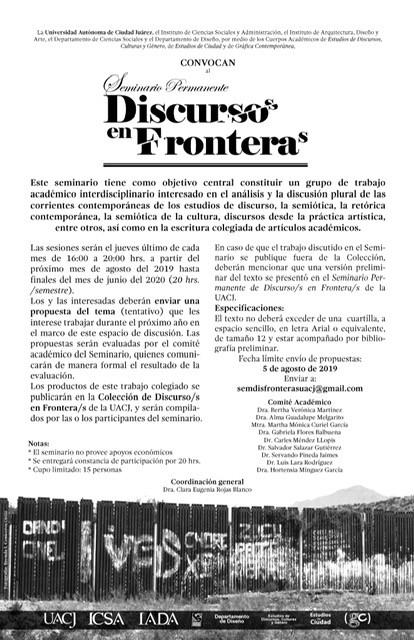Convocan a participar en el Seminario Permanente Discursos en Fronteras