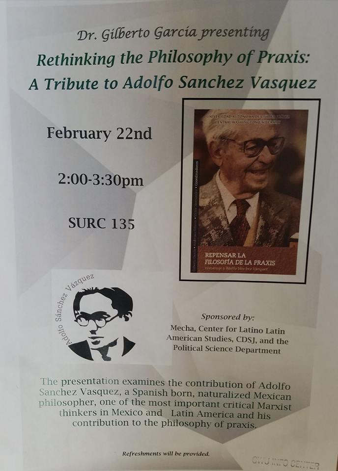 """Presentan el libro """"Repensar la filosofía de la Praxis, homenaje a Adolfo Sánchez Vázquez"""""""