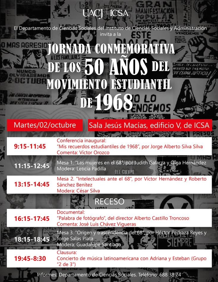 Realizan Jornada conmemorativa de los 50 años del movimiento estudiantil del 68