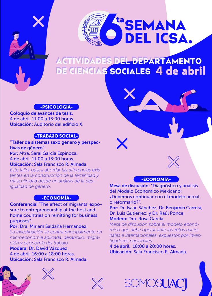 6ta. Semana del ICSA: conoce las actividades de Ciencias Sociales
