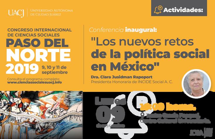 """Próximo a iniciar el Congreso Internacional de Ciencias Sociales """"Paso del Norte"""" 2019"""