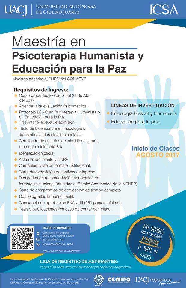 POSGRADOS: Maestría en Psicoterapia Humanista y Educación para la Paz