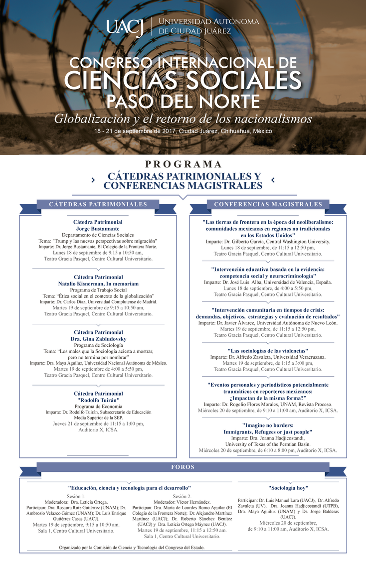 """Congreso Internacional de Ciencias Sociales """"Paso del Norte"""", 2017"""
