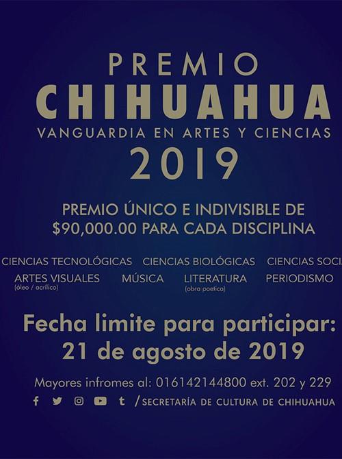 Invitan a participar en la convocatoria del Premio Chihuahua 2019