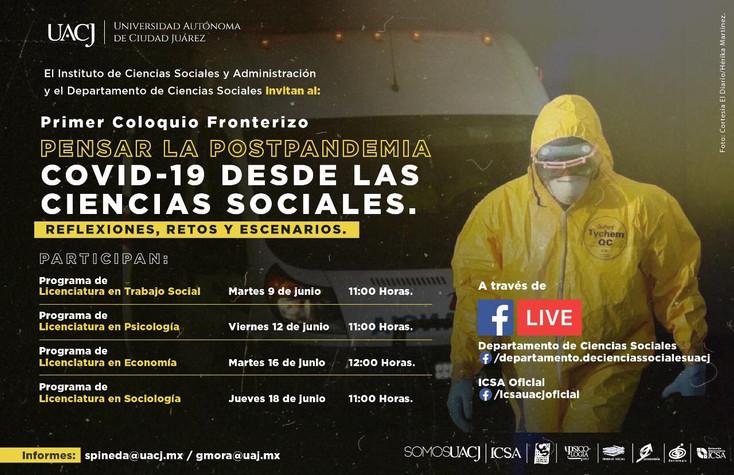 Invitan al Primer Coloquio Fronterizo: Pensar la PostPandemia COVID-19 desde las Ciencias Sociales