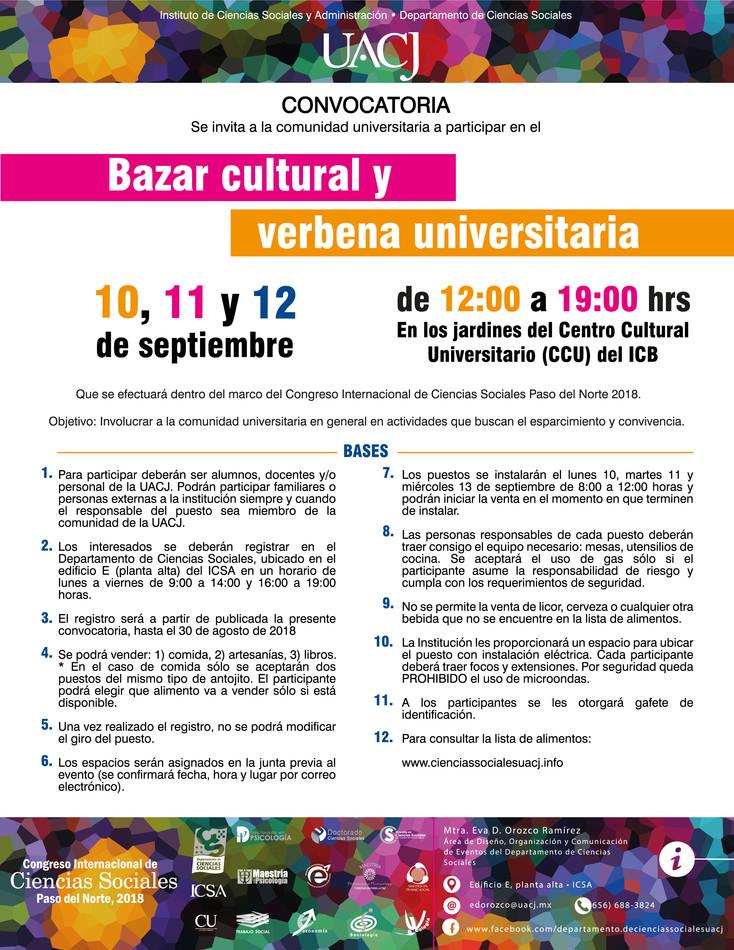 Invitan a participar en el Bazar cultural y Verbena universitaria