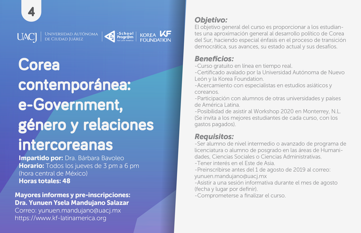Oferta de cursos gratuitos de la Korea Foundation agosto-diciembre 2019