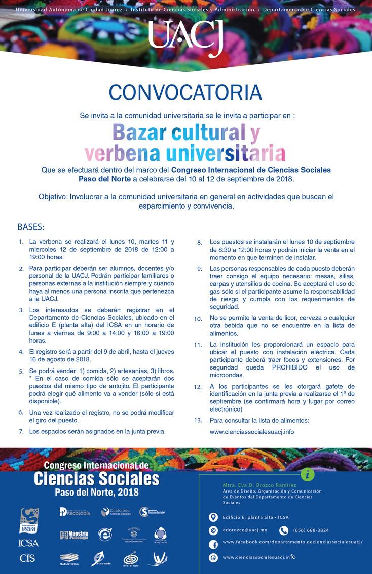Convocatoria para participar en el Bazar Cultural y  Verbena