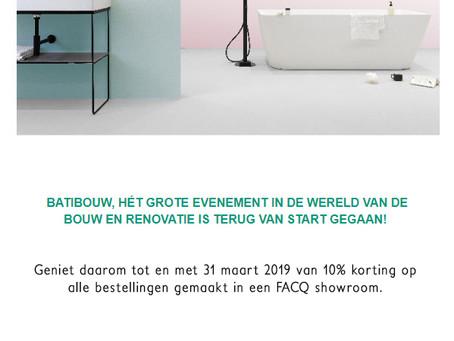 Facq Batibouw actie 2019 - 10% korting