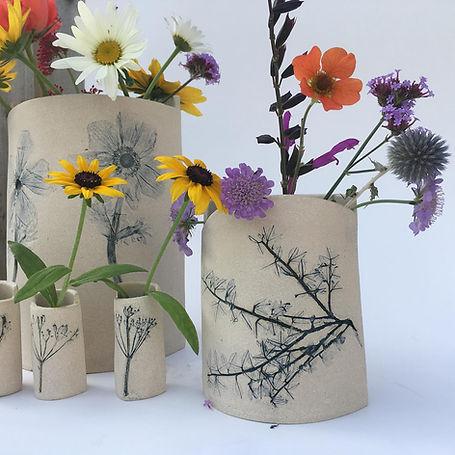Handmade botanical, garden themed vases